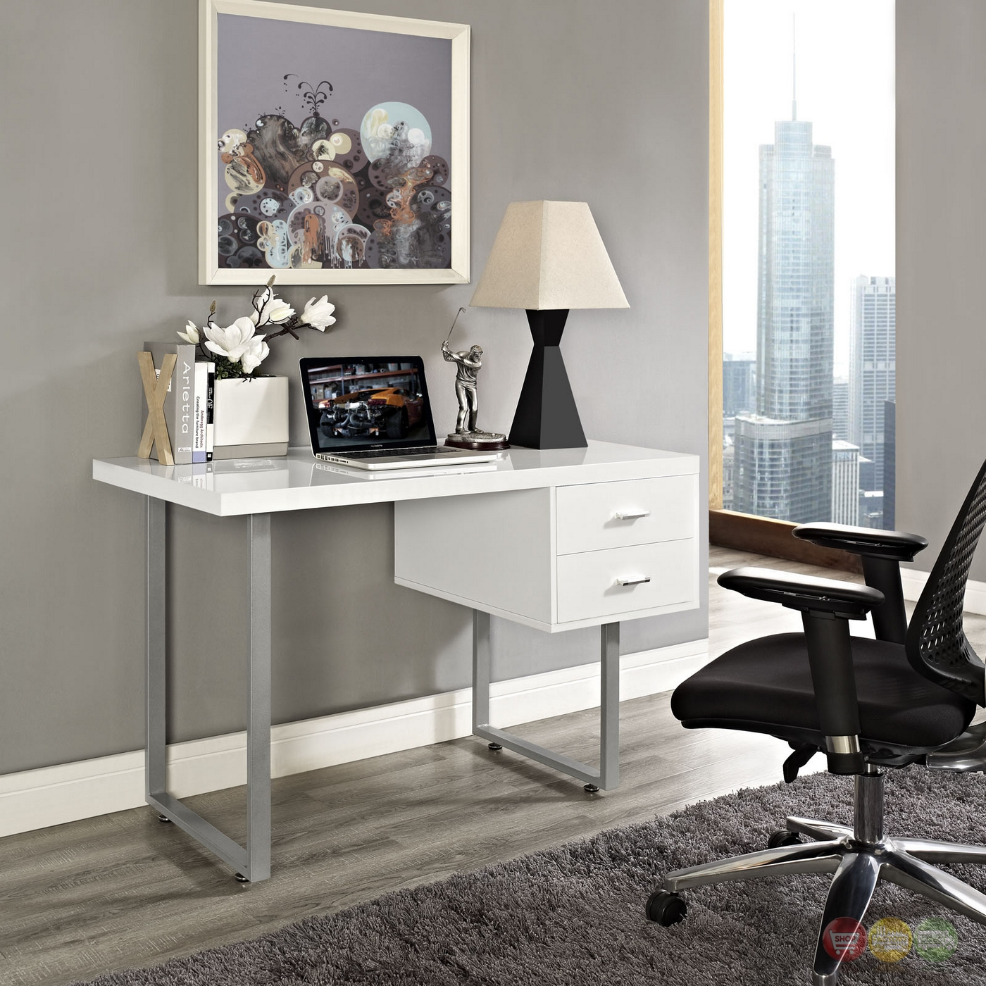 Turn Contemporary 2-drawer Office Desk With High Gloss