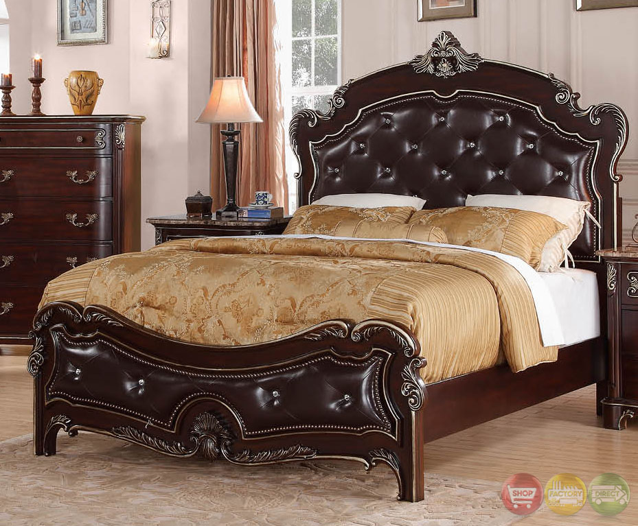 Turquoise Traditional Cherry Upholstered Bedroom Set With