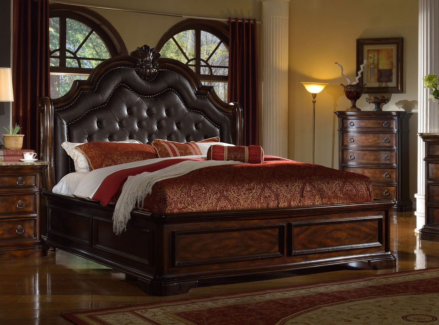 Tuscan Dark Brown Leather California King Sleigh Bed With Nailhead Trim