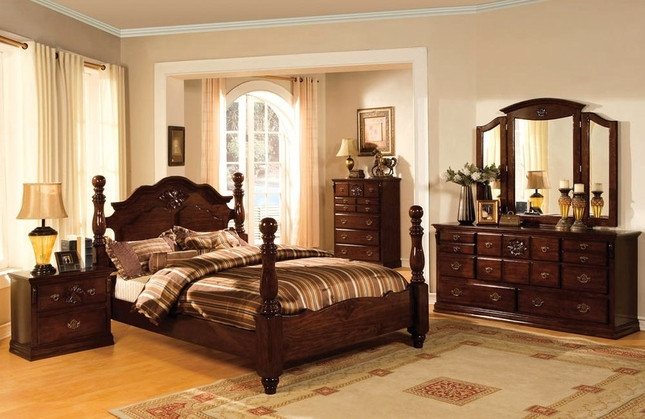 Tuscan II Classic Traditional Poster Bed Dark Pine Bedroom Furniture Set