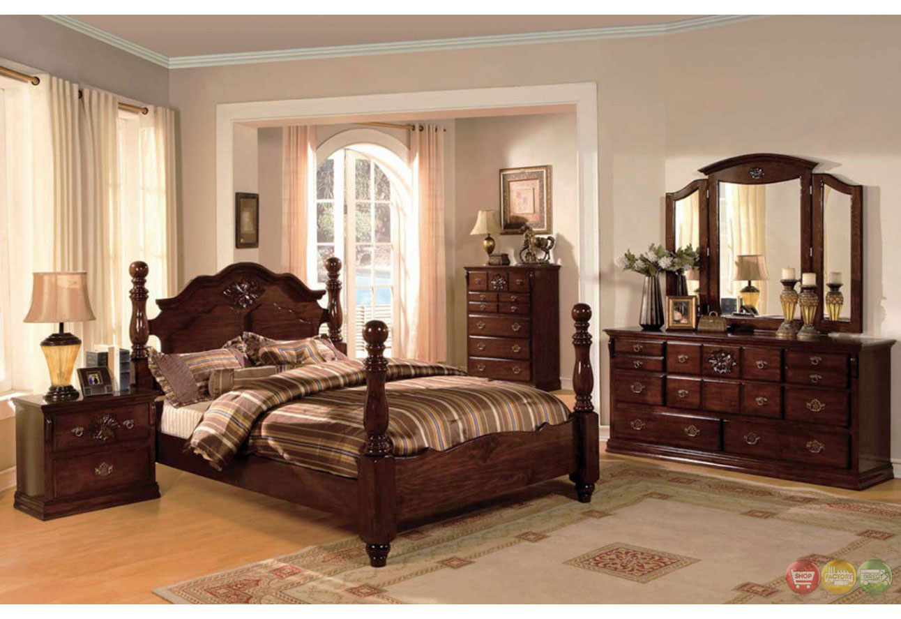 Tuscan ii classic traditional poster bed dark pine bedroom for Traditional bedroom furniture