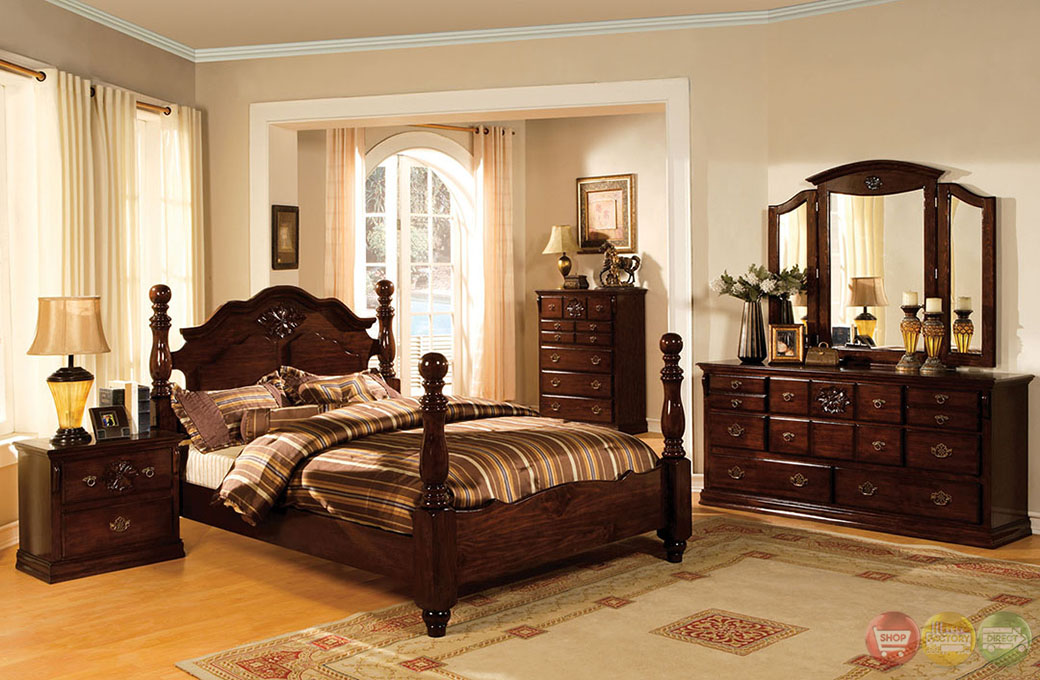 Tuscan ii traditional glossy dark pine poster bedroom set with antique gold handles cm7571 No dresser in master bedroom