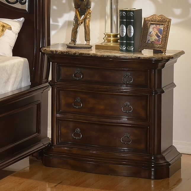 Tuscan Traditional Marbled Topped 3-Drawer Dark Brown Nightstand