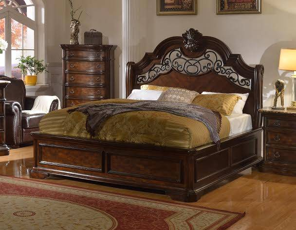 Tuscan Traditional Scrolled Wrought Iron King Bed In Dark Brown