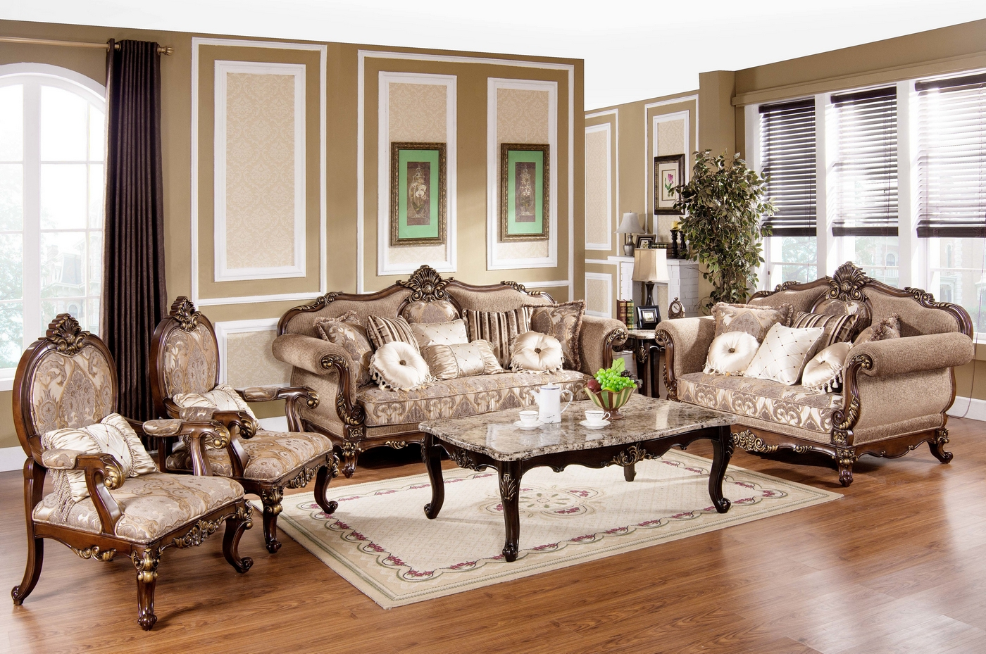 Tuscan Villa Traditional Formal Sofa Set