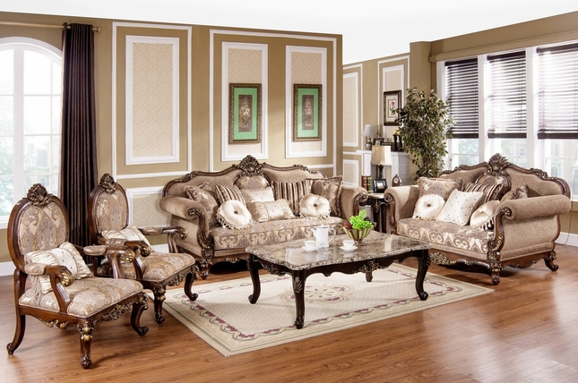 Tuscan Villa Antique Style Traditional Formal Sofa Set Part 52