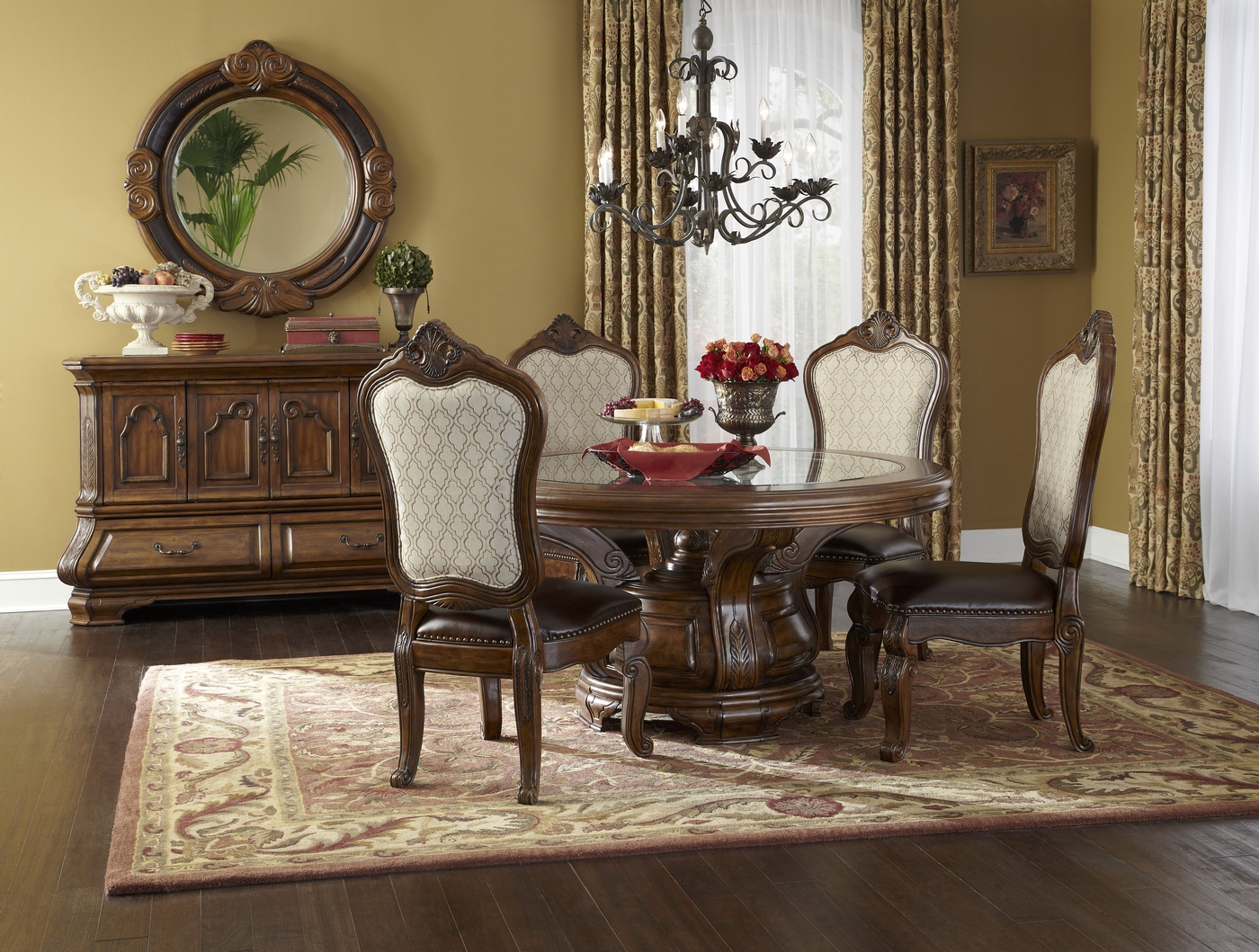 Michael Amini Tuscano Melange Round Dining Room Furniture Set Table & Chairs