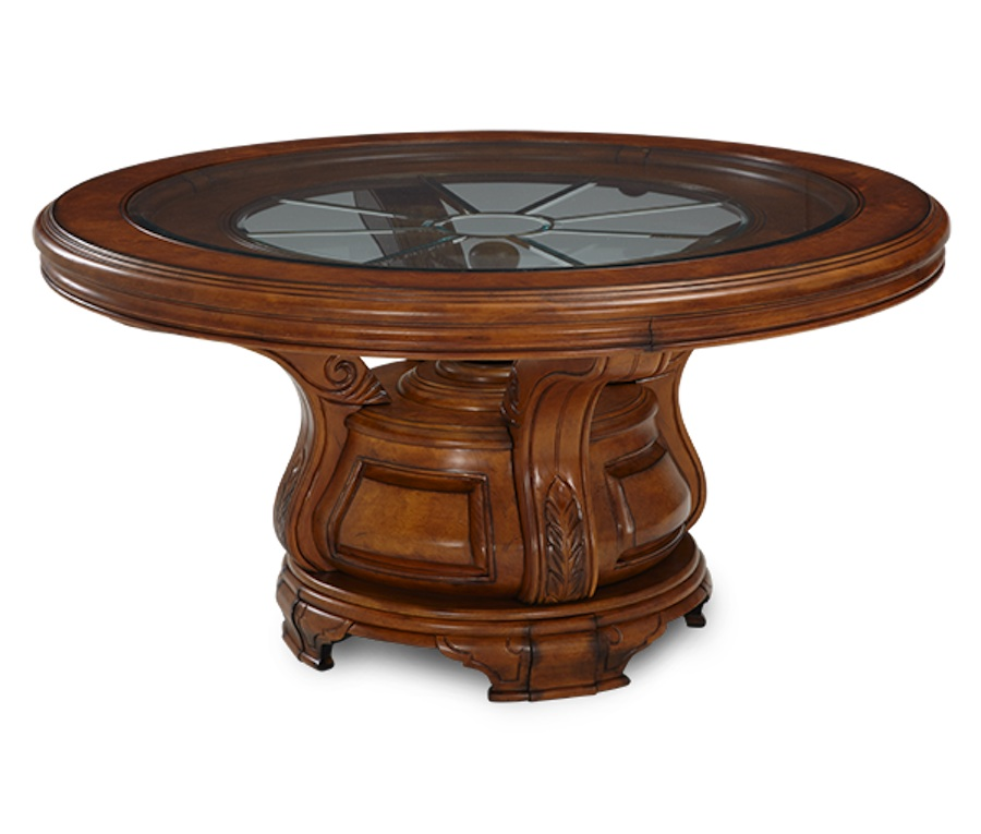Michael amini tuscano biscotti finish traditional round for Traditional round dining table sets