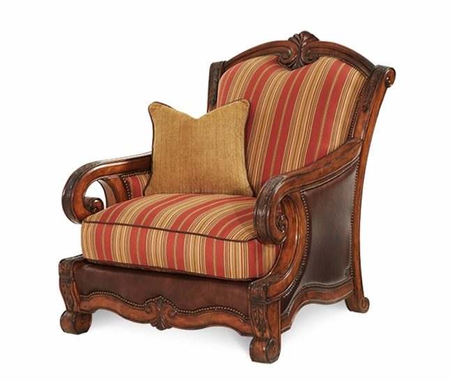 Michael Amini Tuscano Biscotti Traditional Wood Trim Leather U0026 Fabric Chair  By AICO