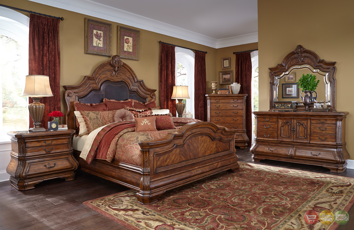 Tuscano melange luxury traditional queen bedroom furniture for Traditional bedroom furniture