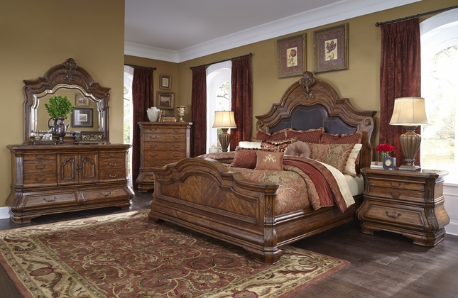 Michael Amini Tuscano Traditional Luxury Bedroom Set Melange Finish ...