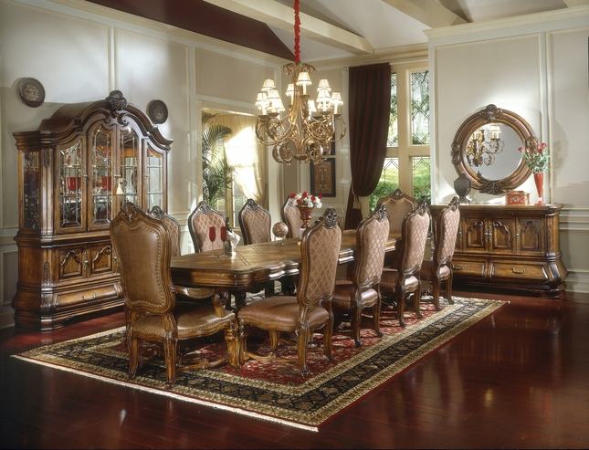 Michael Amini Tuscano Traditional Formal Dining Table Set Biscotti