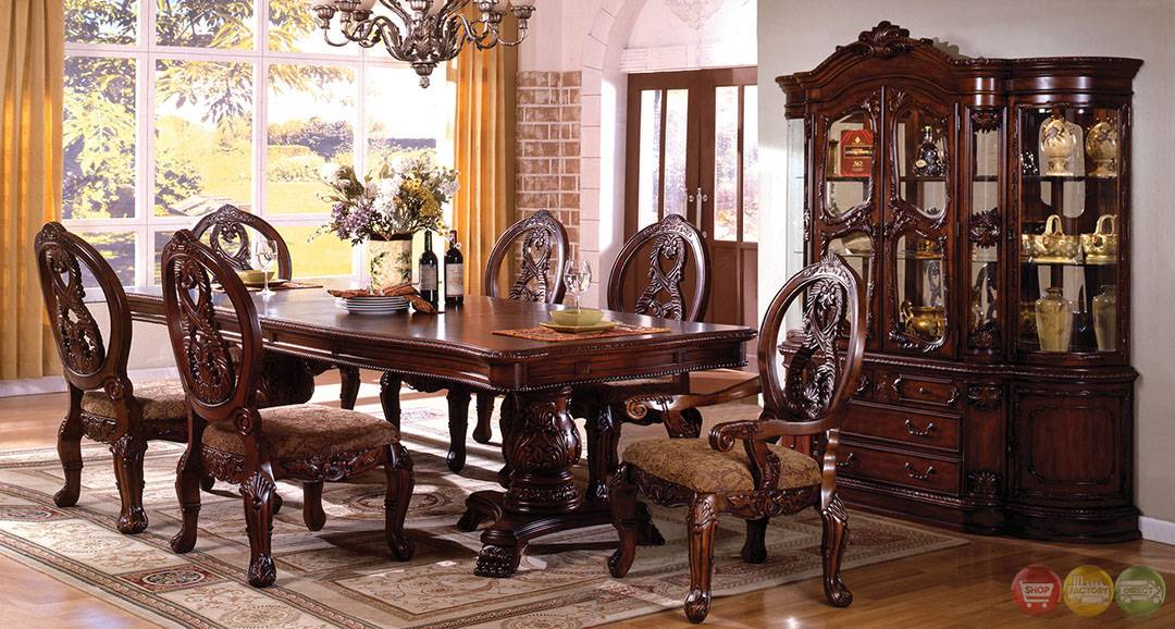 Tuscany antique cherry formal dining set double pedestals for Antique dining room sets