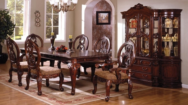 Tuscany II Elegant Antique Cherry Formal Dining Set With French Style Legs