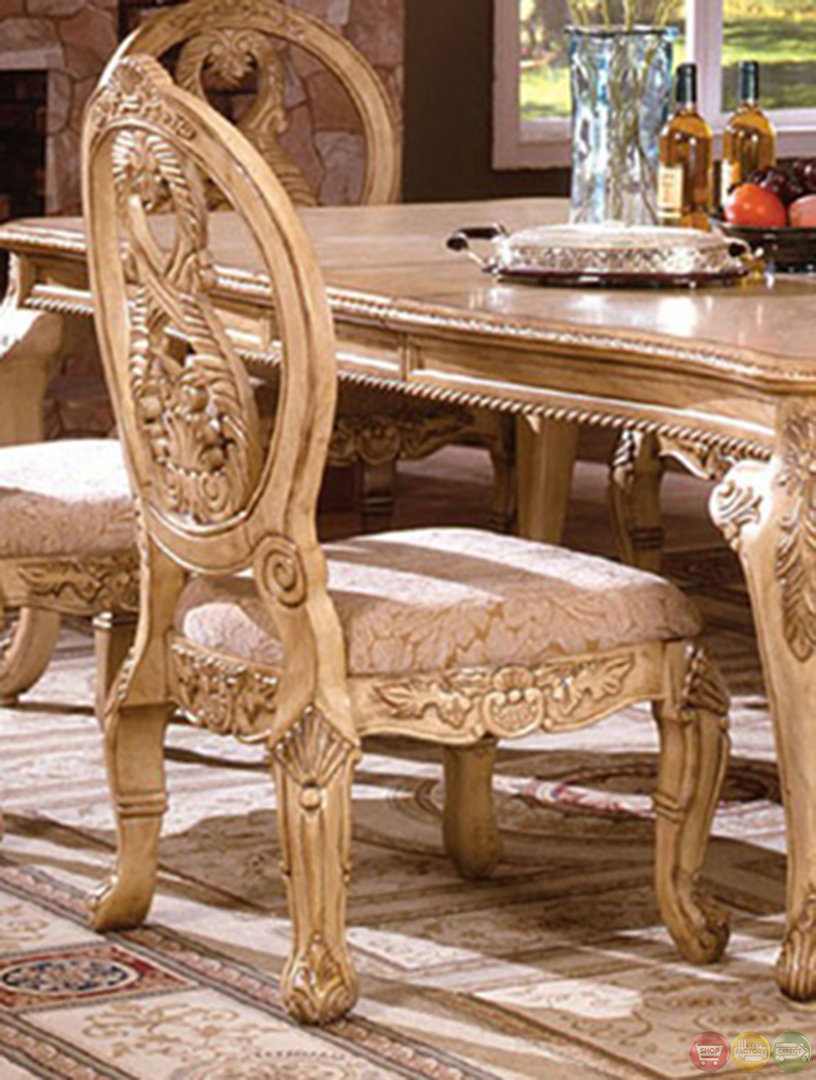 dining room sets with leaf   Tuscany Plush Upholstered Dining Room Set with 16 Inch Leaf