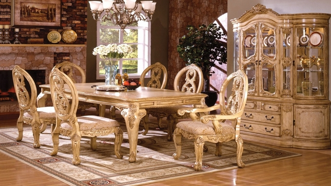 Bon Tuscany Antique White Traditional Formal Dining Room Furniture Set Leg Table