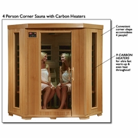 Tuscon Hemlock 4 Person Carbon Heater Corner Infrared Sauna Heat Wave