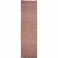 """Twist Soft New Zealand Wool Runner Area Rug 2'6""""x 8' Red Off White Chevron/Solid"""