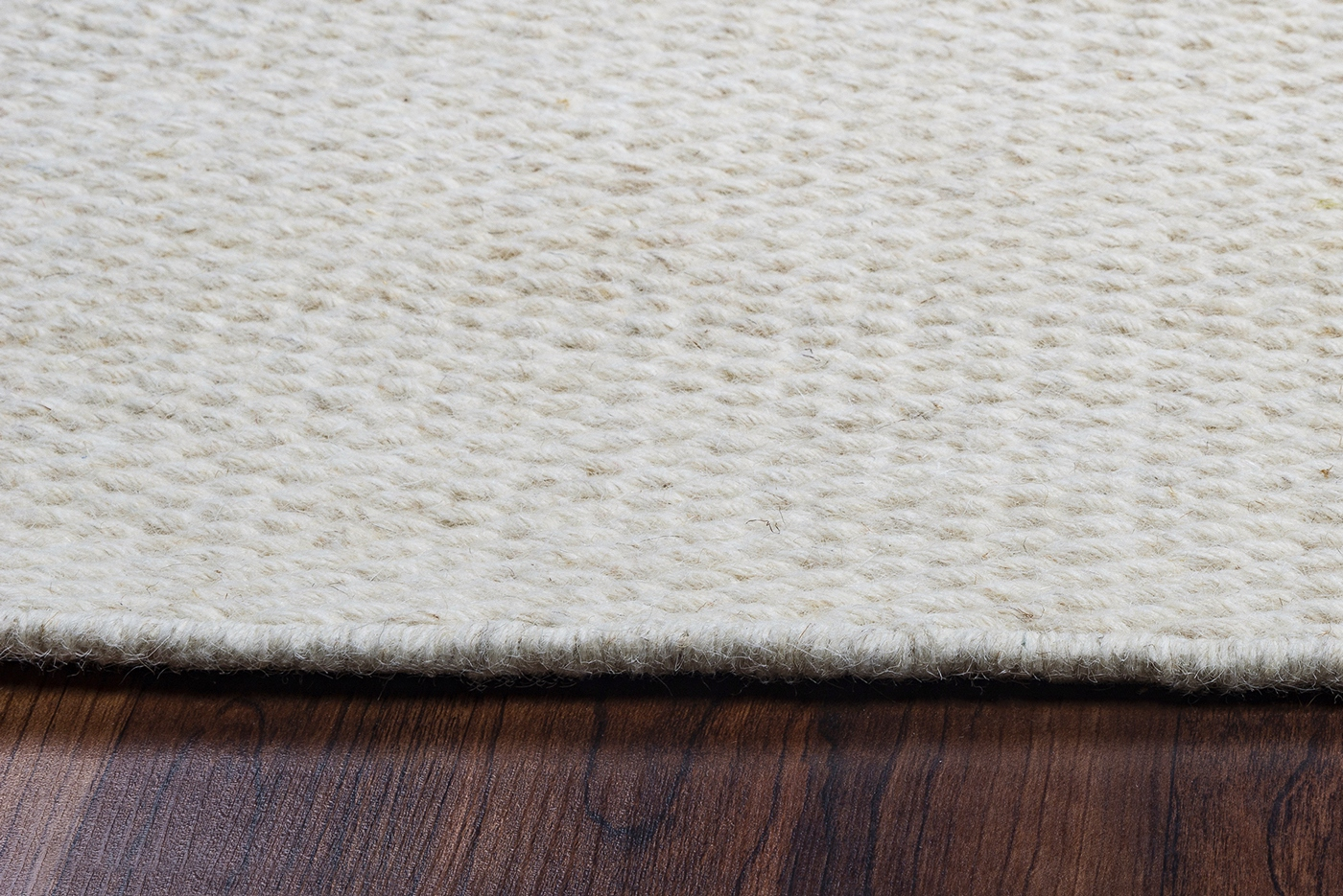 Twist Textured Woven Pattern Wool Area Rug In Solid Off