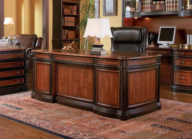 High Quality Two Tone Wood Executive Home Office Desk With 5 Drawers