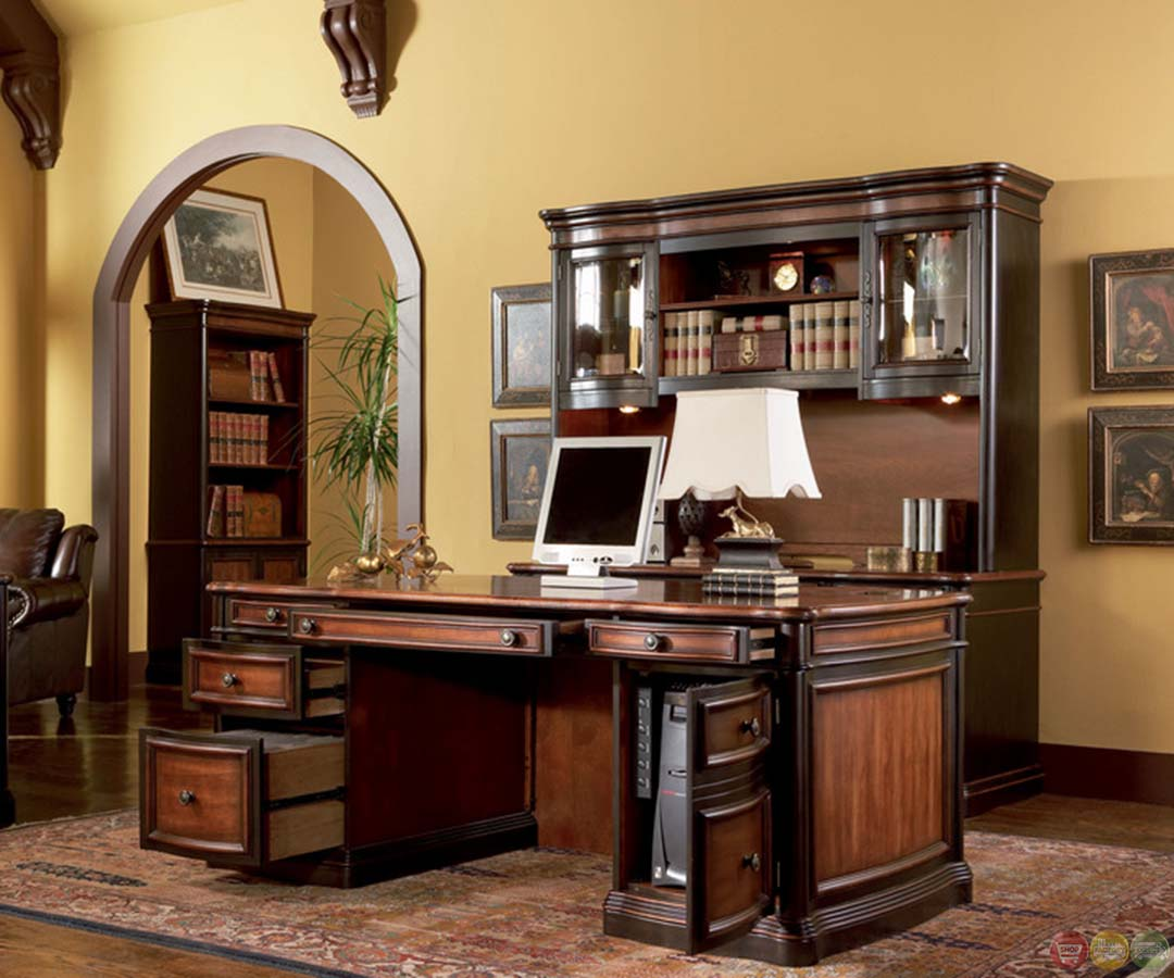 Idea Office Furniture: Two Tone Wood Executive Home Office Desk With 5 Drawers