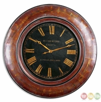 Tyrell Antique Tones of Rustic Red Antiqued Gold and Aged Black Wall Clock  06751