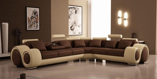 Ultra Modern Brown Tan Leather Sectional Sofa Vgev4087
