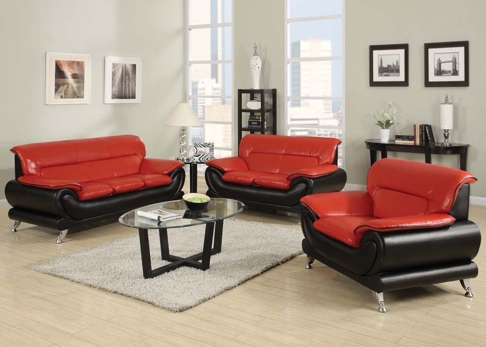 ultra modern red passion love seat   Ultra Modern Two Tone Red & Black Sofa Set Contemporary Design