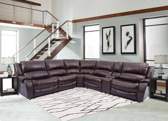 Ulysses Chestnut Leather Power Sectional Sofa w/ Power Headrest & Armless Recliner