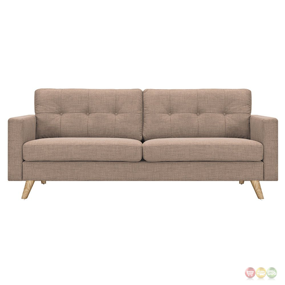 Uma Mid Century Modern Beige Fabric Button Tufted Sofa W Natural Finish