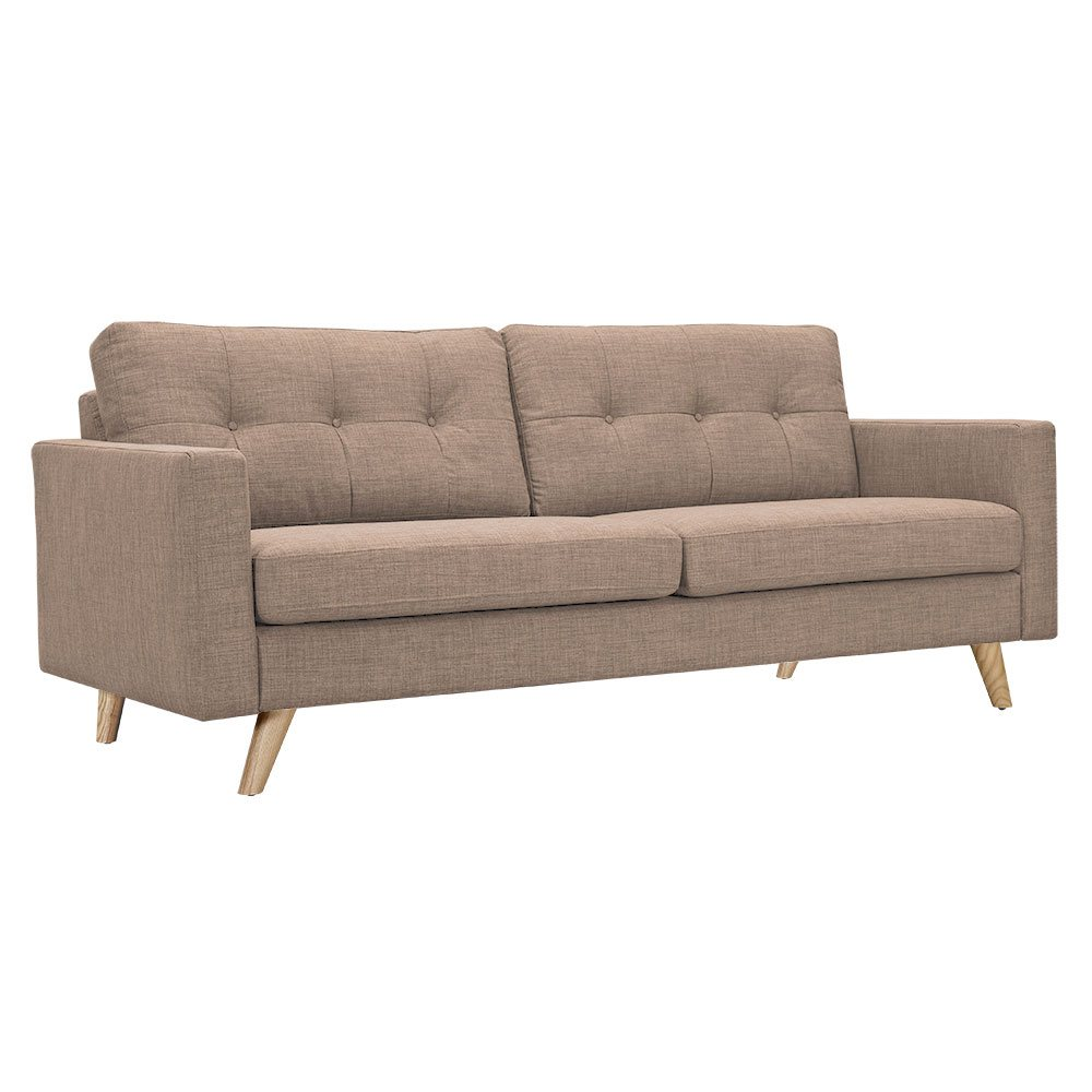 uma mid century modern beige fabric button tufted sofa w natural finish. Black Bedroom Furniture Sets. Home Design Ideas