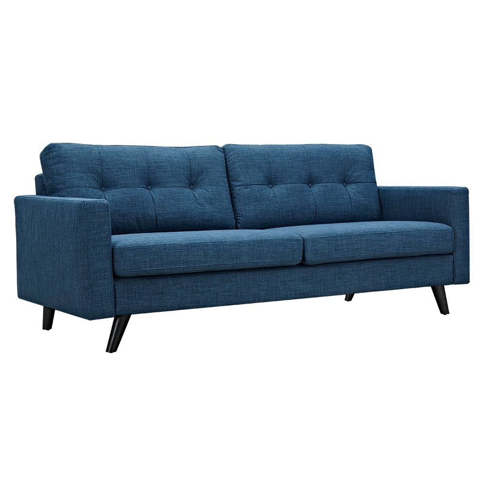 Uma mid century modern blue fabric button tufted sofa w for Black fabric couches