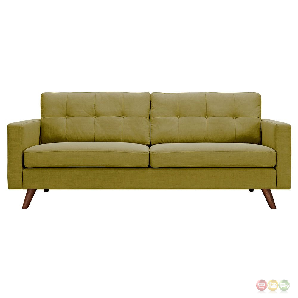 Uma mid century modern green fabric button tufted sofa w for Button tufted chaise settee green