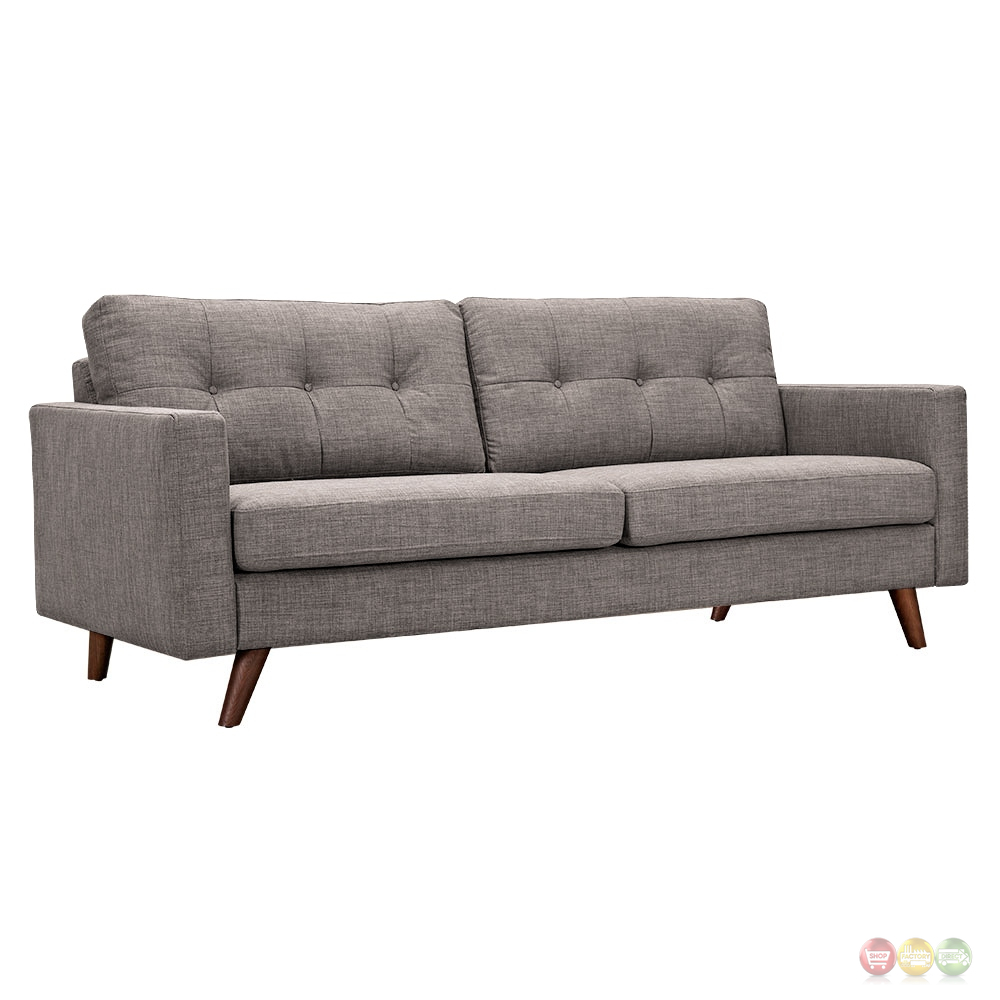 Uma mid century modern grey fabric button tufted sofa w walnut finish Modern sofa grey