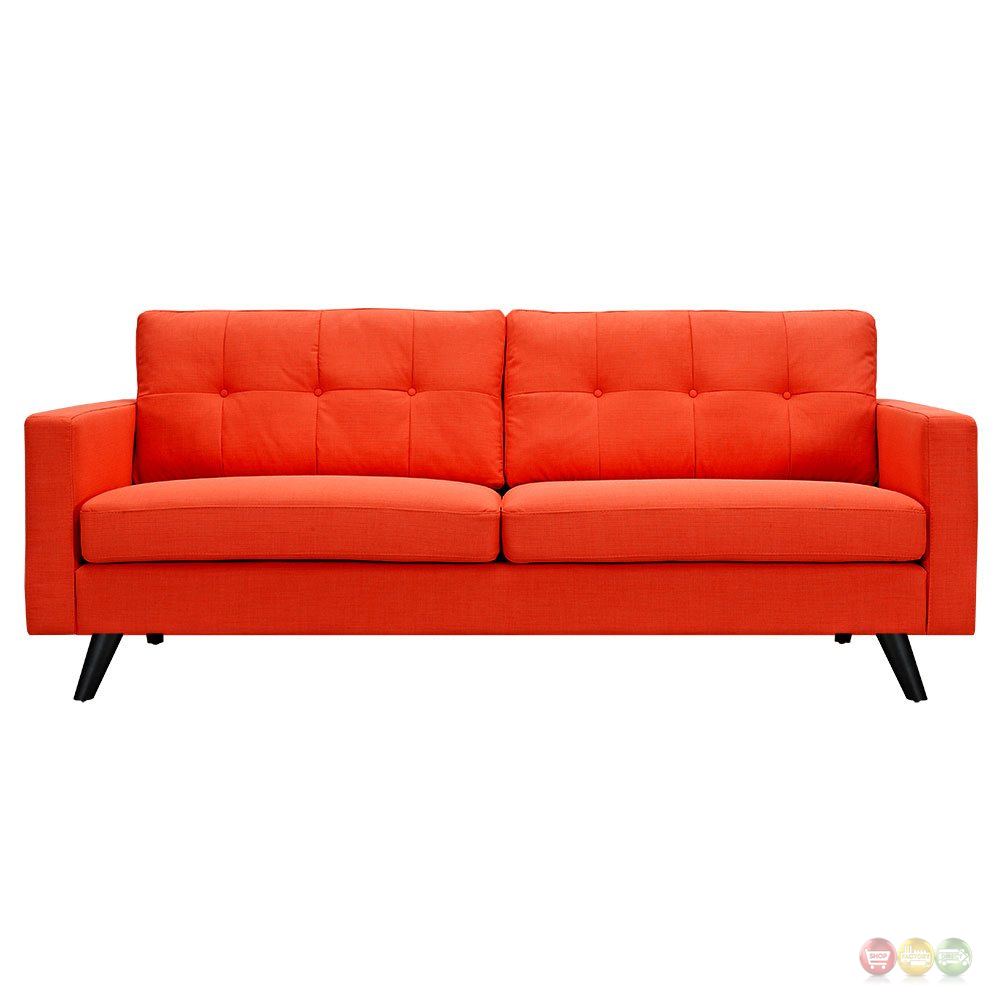 uma mid century modern orange fabric button tufted sofa w black finish. Black Bedroom Furniture Sets. Home Design Ideas