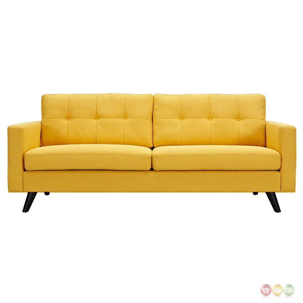 Uma mid century modern yellow fabric button tufted sofa w for Yellow sofa