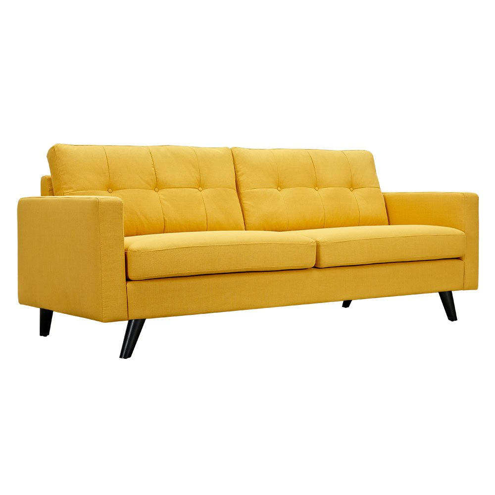 Uma mid century modern yellow fabric button tufted sofa w for Mid century modern sofas