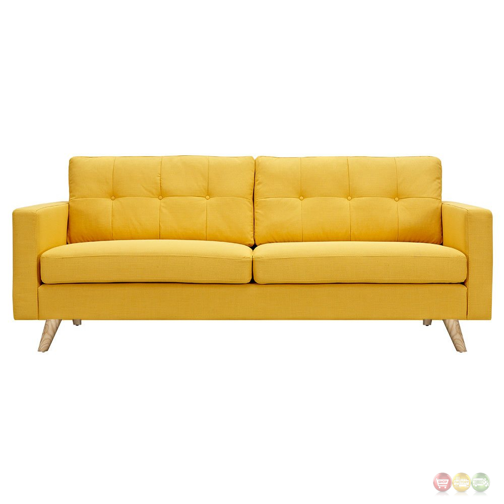 Modern Sofa Bed With Soft Fabric Finish: Uma Mid-Century Modern Yellow Fabric Button Tufted Sofa W