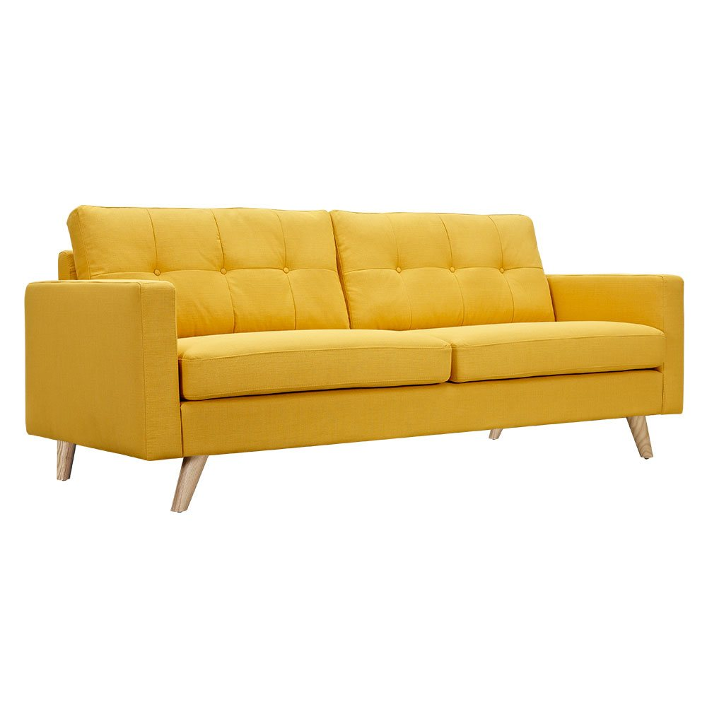 Uma mid century modern yellow fabric button tufted sofa w natural finish - Modernist sofa ...