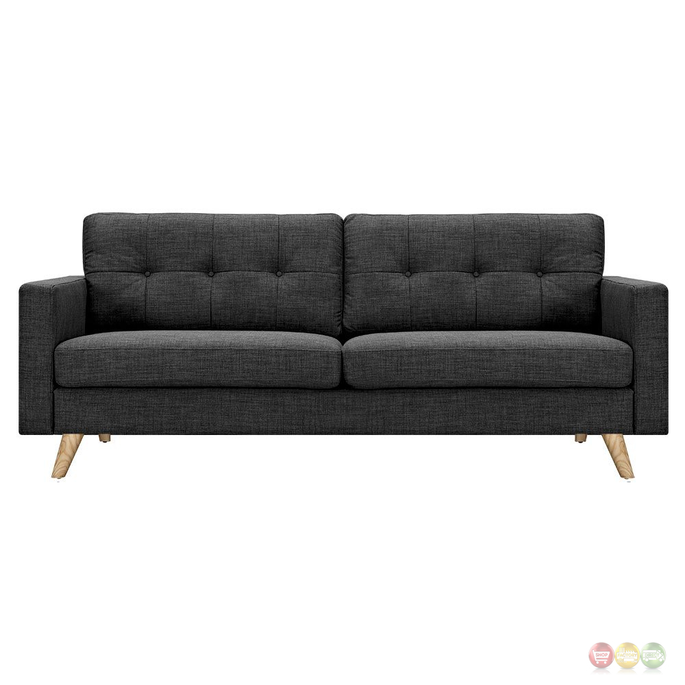 Uma modern dark grey fabric button tufted sofa with natural finish Modern sofa grey