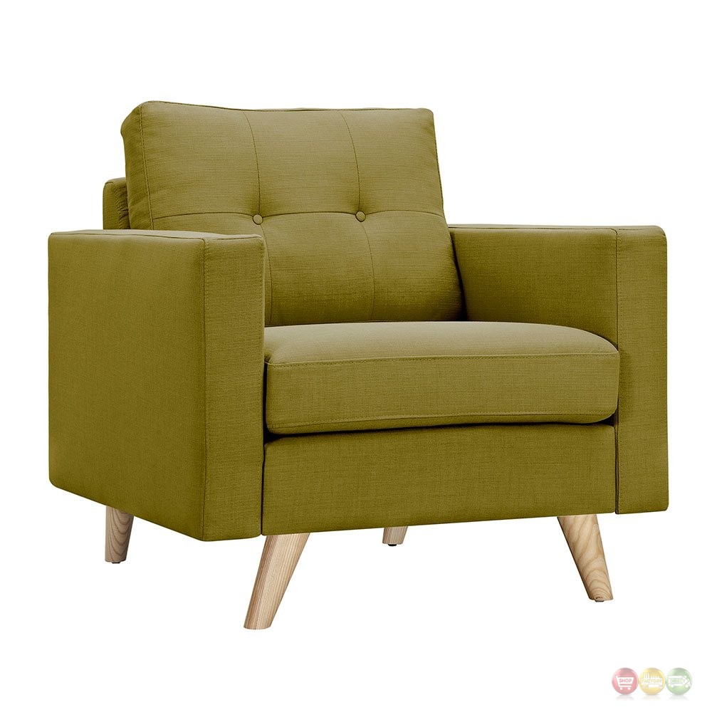 Uma modern green fabric button tufted armchair with for Armchair builder