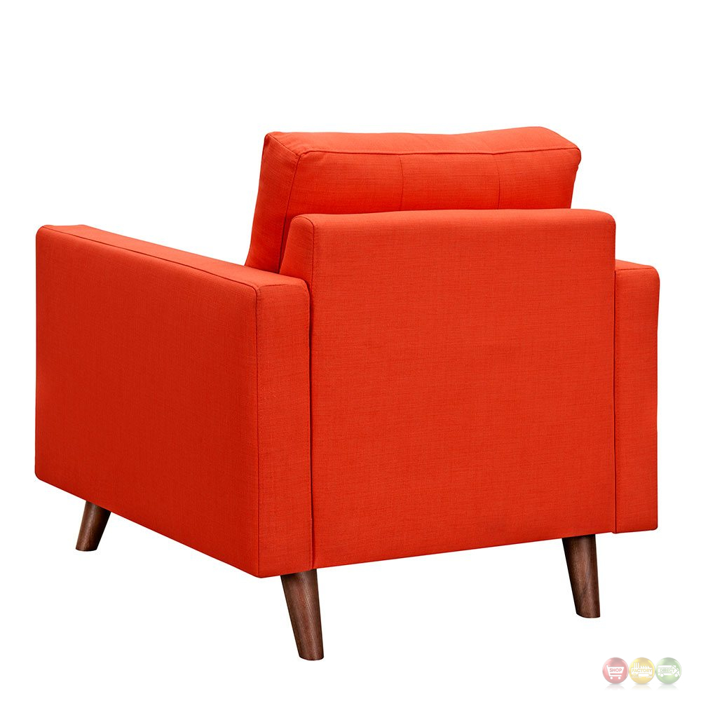 Uma modern orange fabric button tufted armchair w walnut for Armchair builder