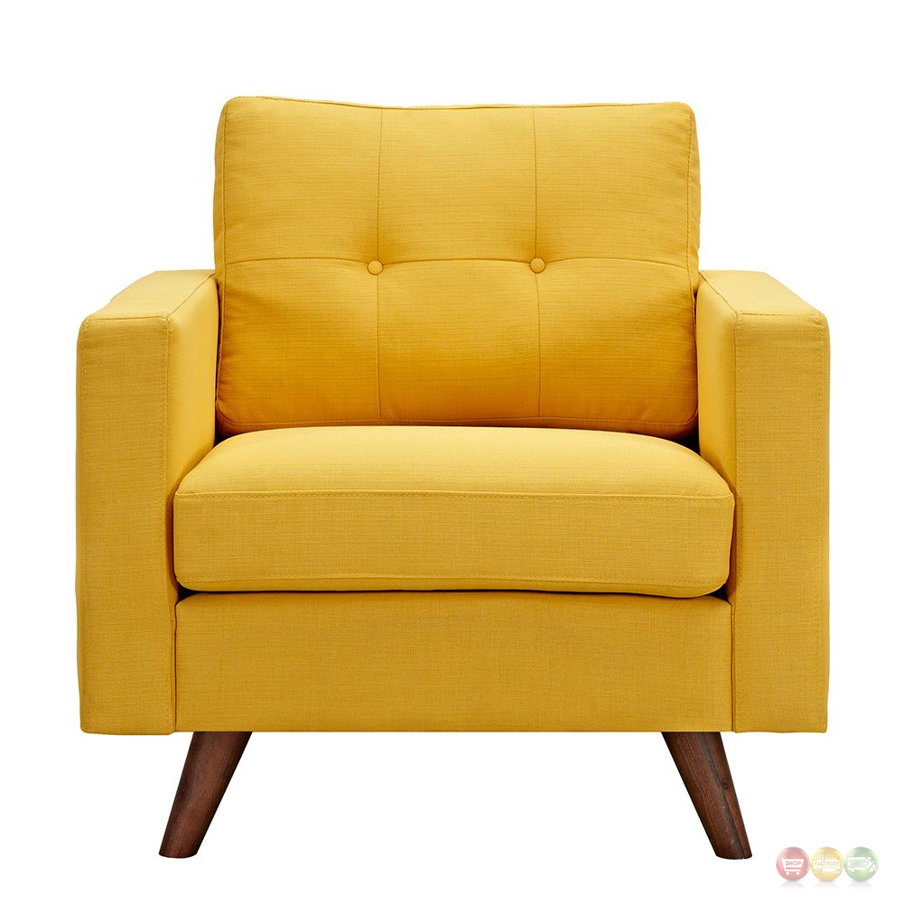 Uma modern yellow fabric button tufted armchair with for Armchair builder