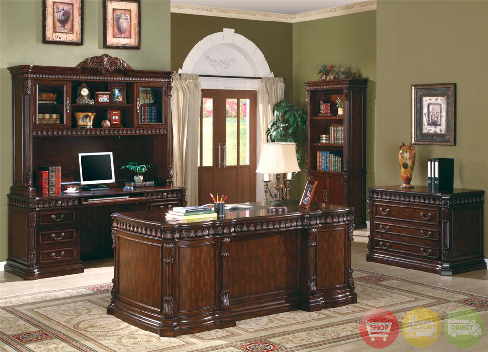 Union hill double pedestal executive desk with leather insert top shopfactorydirect com free - Home office furniture solid wood ...