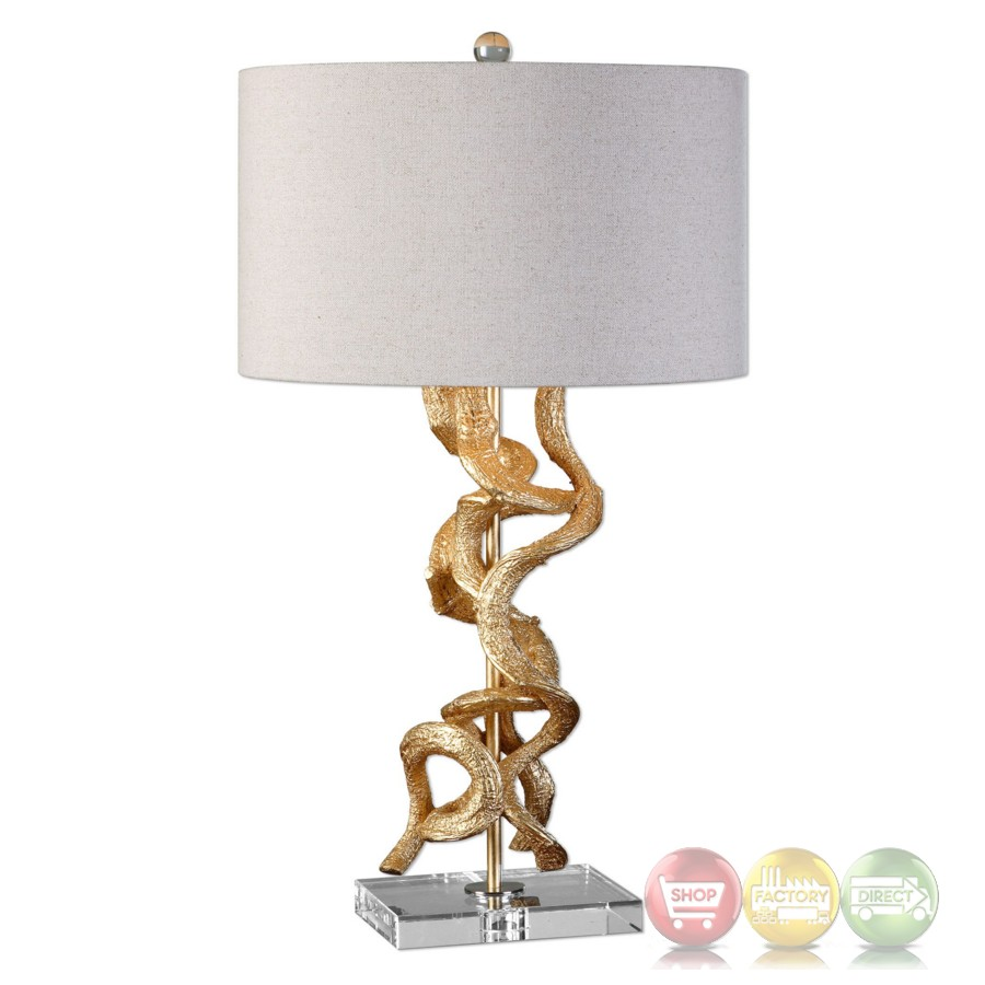 Unique Table Lamp In Bright Gold With Twisted Vine Detail