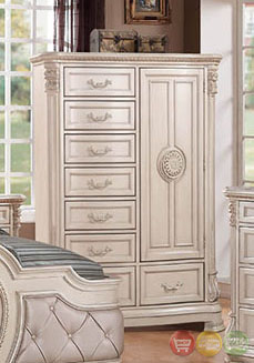 Unity antique traditional distressed antique white - Traditional white bedroom furniture ...