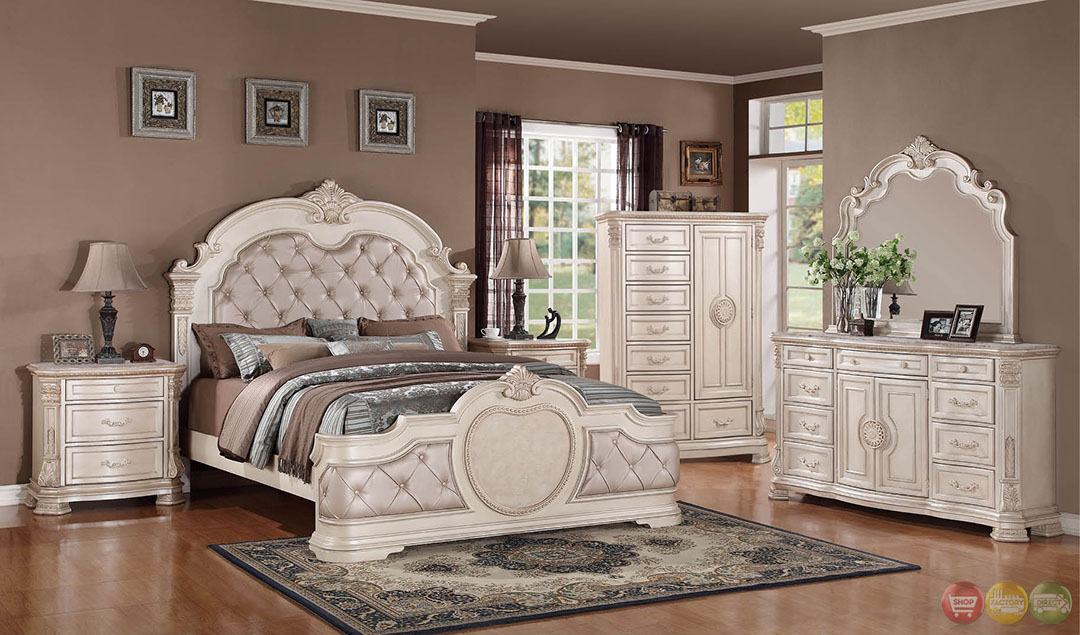 unity antique traditional distressed antique white upholstered bedroom set with stone tops rpcmo01. Black Bedroom Furniture Sets. Home Design Ideas