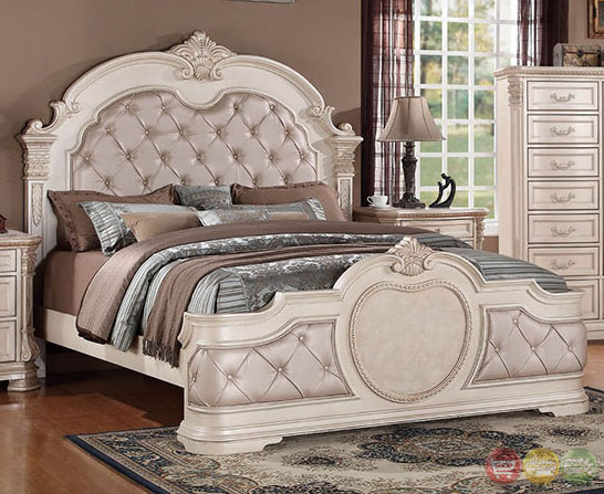 Unity Antique Traditional Distressed Antique White Upholstered Bedroom Set With Stone Tops Rpcmo01