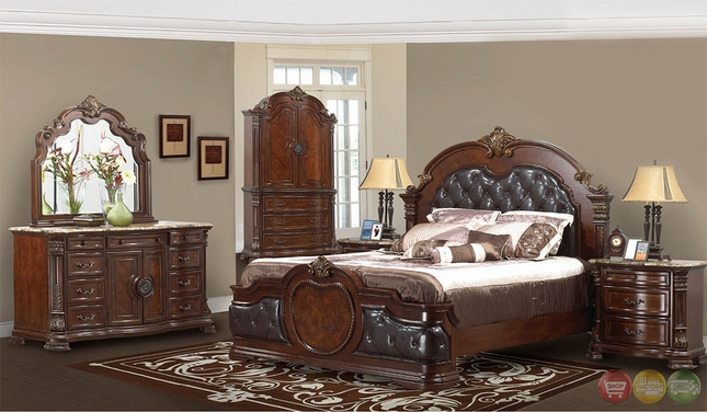 Unity Cherry Traditional Cherry Upholstered Bedroom Set with Stone Tops