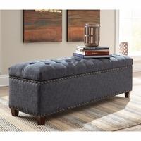 Upholstered Indigo Storage Bench With Nailhead Trim
